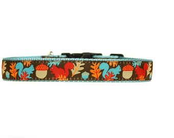 1 Inch Wide Dog Collar with Adjustable Buckle or Martingale in Sam the Squirrel