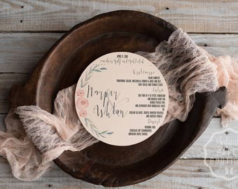 Round Menu, Circle Menu • Any Size ROUND MENU • Charger Menu • Reception Menu Cards - for weddings, bridal events, and dinner parties