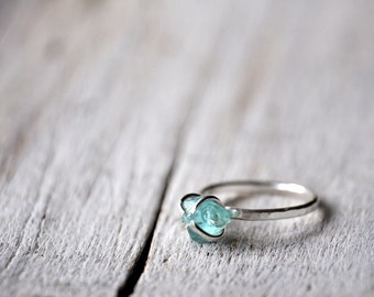 Sterling silver ring with raw aquamarine, MADE TO ORDER