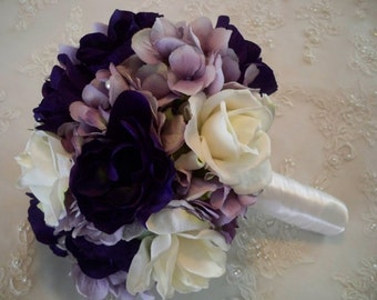 Real Touch Roses Silk Antique Lavender Silk Hydrangeas Deep Purple Silk Anemones wrapped in White Satin