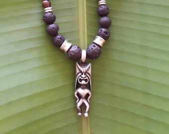 Tiki,Lava and Tiger Ebony Necklace