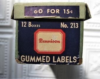 Vintage Dennison Box, Long Box, Held 20 Boxes of No. 213 Dennison Gummed Labels, Empty