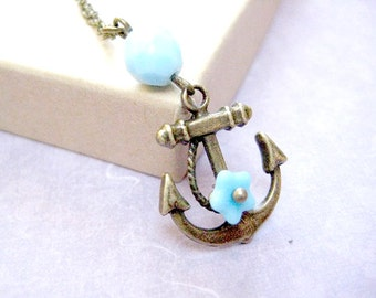 Anchor necklace for women-Vintage nautical jewelry with blue flower-Anchor dainty necklace-Simple necklace gift for her-Beach Necklace