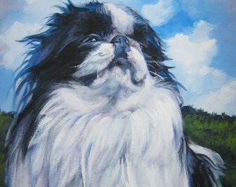 Japanese Chin portrait CANVAS print of LA Shepard painting 12x16 dog art