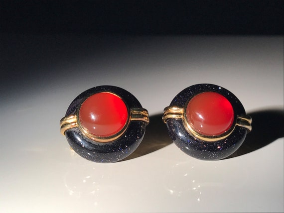 Kai-Yin Lo Carnelian and Blue Goldstone Gilded Sterling Silver Earrings