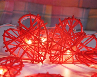 20 Bulbs Red Rattan Heart string lights for Patio,Wedding,Party and Decoration