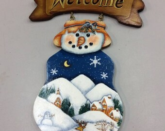 Welcome Sign with Snowman, Snowscene