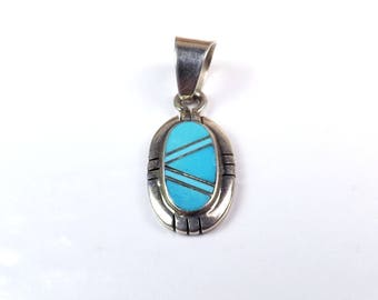 Navajo Sterling Silver TURQUOISE Pendant CS Native American Signed Oval Southwestern Santa Fe Boho Charm