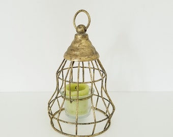 Vintage Gilt Votive Hanging Lantern Holder