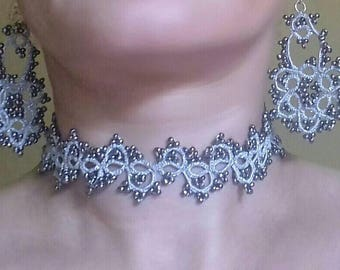 Set: necklace, bracelet, lace earrings frrivolite