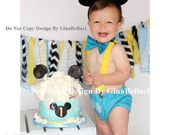 Mickey Mouse Birthday outfit costume cake smash suspenders baby blue clubhouse diaper cover bow tie 12 18 24 toddler