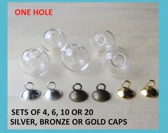 14 mm Glass Globe Ball SET,  Silver Gold Loop Cap, Hollow Pendants, Hanging Glass Terrarium Earring Findings, Fillable Glass Beads One Hole