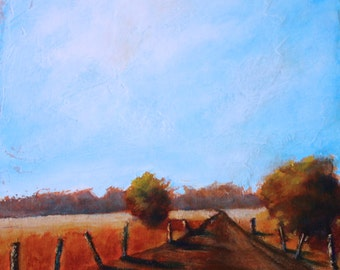 Abstract landscape with trees and bright sky, dirt road.