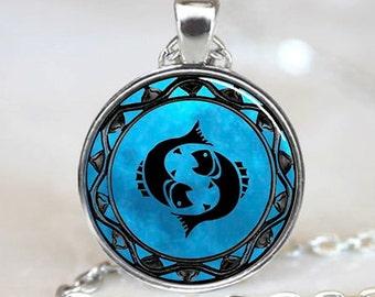 Pisces Pendant, Pisces Necklace, Pisces Jewelry, Pisces Charm silver (PD0344)