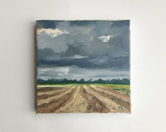 original oil painting, landscape painting, small painting, dutch painting, 8x8 painting, oil on canvas, free hipping, little painting