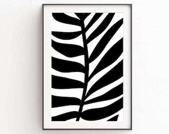 Palm Leaf Print, Tropical Art, Black Decor, Large Art Print, Palm Tree Decor, Tropical Decor, Wall Art, Download Print, Printable Wall Art