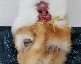 Vintage Nine Inch Eskimo Doll Dressed in Real Fur Coat Hat and Pants Eskimo Sleepy Eye Doll with Movable Head Arms and Legs Doll
