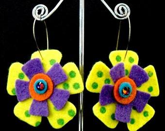 ZigZag Funky Felt Flowers Earrings