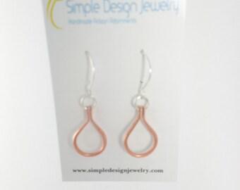 Copper Teardrop Earrings, copper earrings, dangle earrings, hanging earrings, silver Earwires, handmade earrings, shiny copper