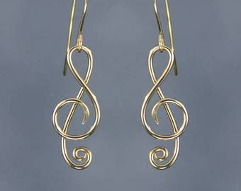 14k gold filled music note dangling earrings Free US Shipping handmade anni designs