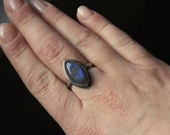Labradorite Marquise & Sterling Silver Ring Size 6.75