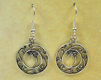 Sterling silver Palmetto Tree Earrings, Charleston, South Carolina (925)