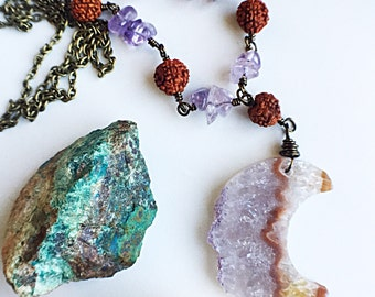 SALE- Ready to Ship- Amethyst Crescent Moon- Rudraksha and Ametrine, Amethyst Slice, any length