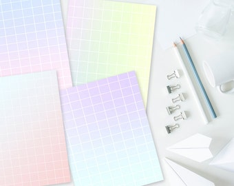 Aesthetic Grid Digital Paper/Journal/Book of Shadows Pages, Set of 4, 8.5 x 11 inches. Pastel Goth, Gradation, Seapunk, Vaporwave
