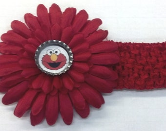 Red Sesame Street Elmo Bottle Cap Flower Hair Bow & Headband - CHOICE of Design
