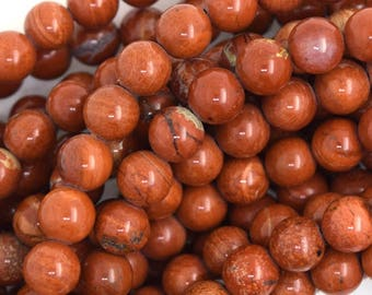 """6mm - 7mm red jasper round beads 15.5"""" strand 35795"""