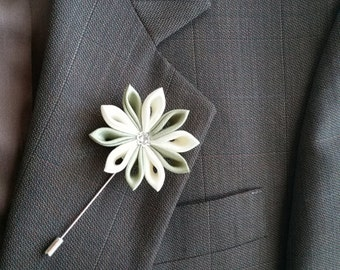 Lapel Pin, Brooch, Pale Yellow, Olive Green, Boutonniere