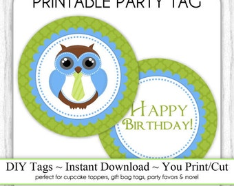 Printable Owl tags, Blue and Green Owl, Printable Party Tag, Cupcake Topper, DIY, You Print, You Cut, Instant Download