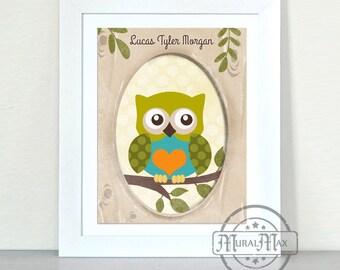 Nursery Art - Owl in tree trunk print wall art , Boys Woodland Owl Nursery Art 11x14 print