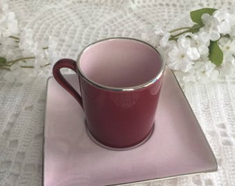 Vintage antique porcelain Mini tea cup and saucer, from ALPICO collection /pink and burgundy plated in silver, Cappuccino cup, pink Saucers