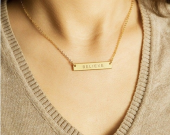 Customized Gold Bar Necklace, Personalized Bar Necklace, Monogram Necklace, Name Plate Jewelry, Meaning Birthday Gift, ID JulenJewel / N104x