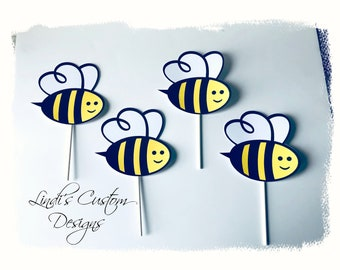 Bee Cardstock Topper, What Will it Bee Baby Shower Diaper Cake Cupcake Toppers, Bumble Bee Party Cake Table Centerpiece Cardstock Toppers