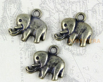 30Pcs Antique Brass elephant Charm elephant Pendant 14x10mm (PND250)