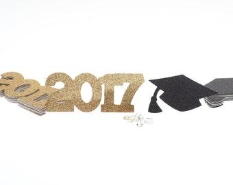 2017 Grad Cap Confetti, 2017 Confetti, Graduation Cap Confetti, 2017 Graduation Party Decor, 2017 Graduation, Graduation Table Decor, 2017
