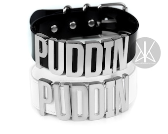Authentic Harley Quinn PUDDIN Choker Replica | Cosplay | Suicide Squad Movie | Halloween Costume | Comics | BIG Letters - SILVER