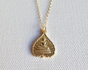 Gold Buddha Necklace, Buddha Pendant, Gold Buddha Charm Necklace, Buddha Jewelry, Meditating Buddha, Yoga & Spirituality Jewelry