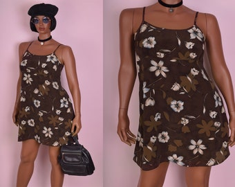 90s Brown Floral Print Mini Dress/ Large/ 1990s/ Tank/ Sleeveless
