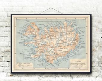 Iceland 1912 Map Fine Art Print