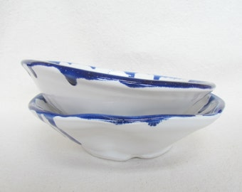 Blue and White Salad Soup Cereal Bowl Pottery Set