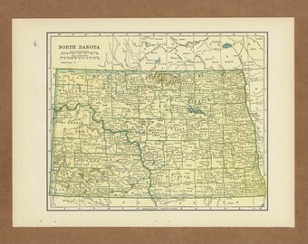 Vintage map of North Dakota from 1943 Antique 1940s