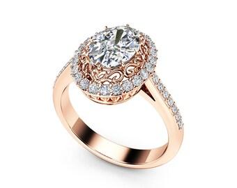 Oval Halo Engagement Ring  14K Rose Gold Ring 1.5 Carat Oval Cut Moissanite Ring Filigree Ring natural Diamond Halo Engagement Ring