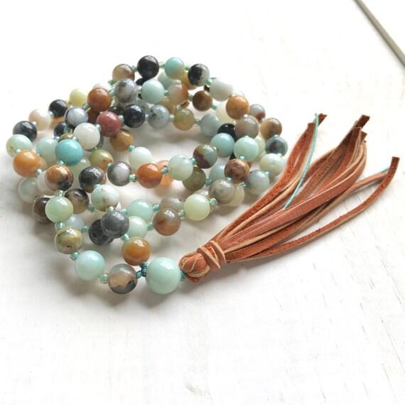 Balance Your Emotions Mala, Amazonite & Leather Tassel Mala, Boho Mala Beads, Unique Mala Necklace, Earthy Mala Beads, Natural Healing Mala