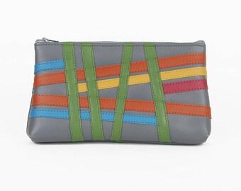 grey stripe vegan leather clutch or makeup bag