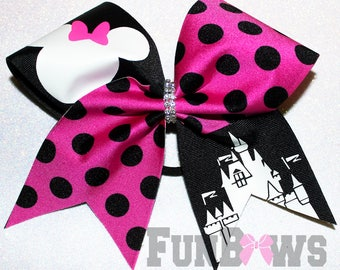 Adorable Disney and Minnie  Inspired - Awesome new Custom cheer bow by FunBows !