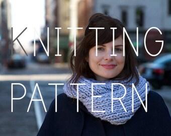 Knitting Pattern - Infinity Scarf Cowl - Easy Intermediate - Digital Download