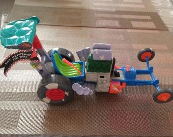 SALE Vintage Teenage Mutant Ninja Turtles Toy Pizza Power Race Car 1990s Hot Rod